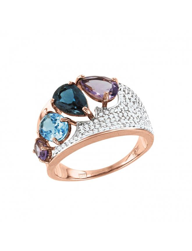 Кольцо с топазом London Blue, фианитами, аметистом и голубым топазом