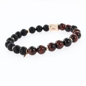 Armband aus schwarzer Jade Byanyshi und Tigerauge