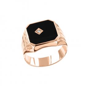 Мужское кольцо с ониксом, фианитом, бриллиантом