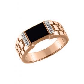 Мужское кольцо с эмалью и фианитами