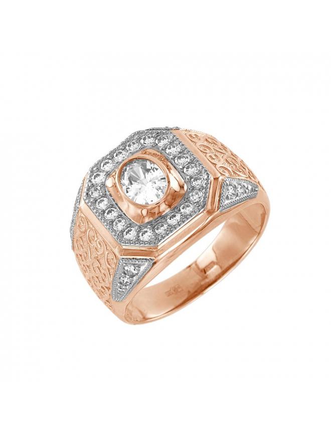 Мужское кольцо с фианитами