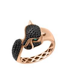 Damenring Leopard mit schwarz Brillanten und Smaragd