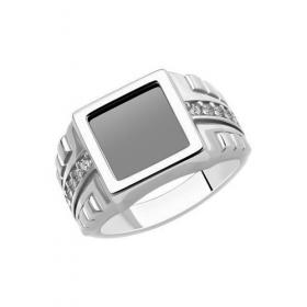 Мужское кольцо с ониксом и фианитами